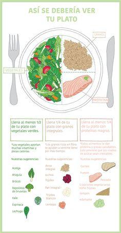 Aprende a controlar las porciones. Te enseñamos como debería verse tu plato cada vez que comes. #nutrición #dieta #plato