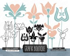 Folk flowers digital vector clip art