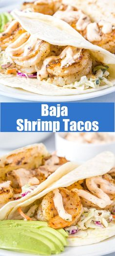 Baja Shrimp Tacos - a fun twist on taco night! Slightly spice shrimp with a chipotle lime sauce makes for a super quick and easy dinner!