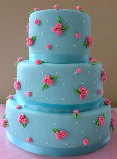 Blue and Pink Rose Cake--floral cake.my perfect birthday cake haha Gorgeous Cakes, Pretty Cakes, Cute Cakes, Yummy Cakes, Amazing Cakes, Fancy Cakes, Mini Cakes, Cupcake Cakes, Garden Party Cakes