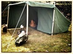 """Real Canvas """"Baker Tent"""" (aka 'Campfire Tent' - traditional but still highly functional canvas tent with configurable tarp awning, side wings & hand-crafted ash poles."""