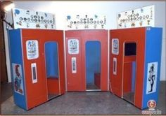 Kiddierama cartoon theatres (HOLY CRAP. I've been trying to find info on these things for years and only just now found out the name of them). These were little booths that were typically set up in grocery stores. You sit down, put in a quarter, and watch a cartoon. Very popular in the late 70s!