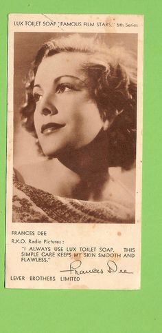 """F 1930s LUX Soap """"Famous Film Stars"""" Actress Card 5th Series Frances DEE 