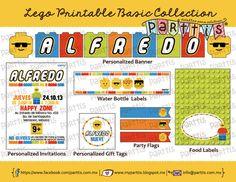 Colección Imprimible Fiesta Infantil Fiesta Lego personalizada BASIC :: BASIC Lego party printable collection by Parttis