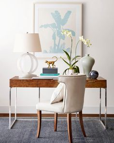 Spruce up your office this spring combining a subtle color palette with gorgeous materials like alabaster and burl wood. Get this look by clicking the link in our profile!! #mywilliamssonoma