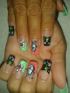 verano nails which look amazing! Pretty Nail Designs, Nail Designs Spring, Nail Art Designs, Fingernail Designs, Magic Nails, Flower Nail Art, Nail Decorations, Nail Manicure, Spring Nails