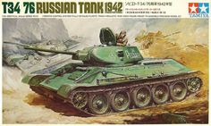 """Tamiya Russian T-34/76 (1942) Version 1/35 Scale """"Remote Control"""" Vintage Classic Model Series."""