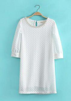 Fashoin Enchating Fashionable Dizzying White Blending round neck Half Sleeve Plain Patchwork Fashion Dresses