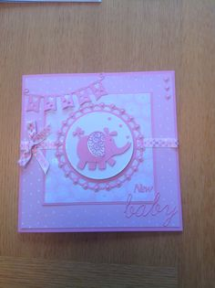 New baby girl card tattered lace