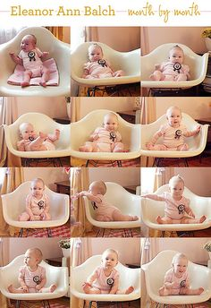 Month-by-month pictures of your newborn taken in the same place for the first year. Very cute!