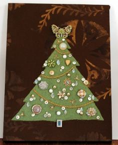 Felt Christmas trees decorated with Grandmother's vintage jewelry