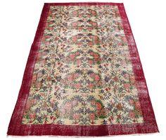 www.aksaraycarpet.com #carpet #rug #vintage #handmade #handwoven #etsy  Turkish Artdeco Rug Floral Design 108 x 68