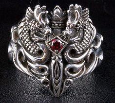 Garnet Medieval Dragon Ring, sterling silver mens ring