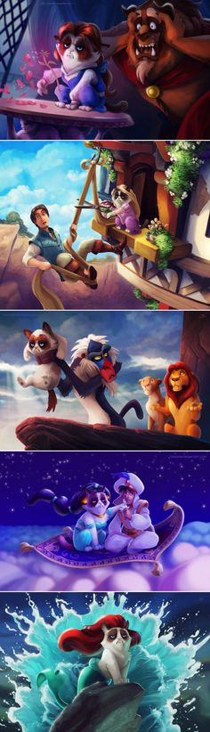 Grumpy Cat meets Disney characters!