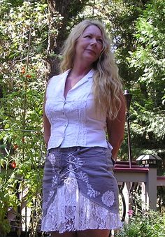 upcycled denim and lace skirt mori girl cowgirl chic bohemian gray