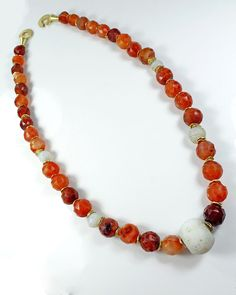 A Roman Carnelian & Marble Faceted Bead Necklace, ca 1st century AD