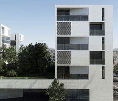 Aum Architects - Collective Housing, L'ilot Seguin, France Architecture Résidentielle, Minimalist Architecture, Contemporary Architecture, Building Facade, Building Design, Brick Facade, Small Buildings, Brick Patterns, Facade Design