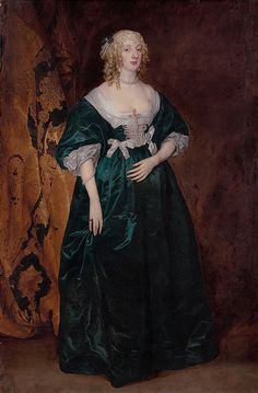 Sir Anthony van Dyck (Antwerp London) , Portrait of Anne Sophia, Countess of Carnarvon (d. full-length, in a green dress with white silk bows and pearls, and gold-embroidered curtain beyond 17th Century Clothing, 17th Century Fashion, 17th Century Art, Anthony Van Dyck, Sir Anthony, Historical Costume, Historical Clothing, Historical Dress, Roi Charles