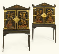 A pair of Regency japanned cabinets-on-stands, circa 1815, in the manner of John and Frederick Crace each in two sections, the upper section fitted with a pair of cupboard doors opening to adjustable shelves and painted on the reverse with figures beneath flowering trees, the side panels similarly decorated, the stands with conforming border decoration with sabre front legs and square tapering back legs