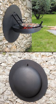 Grill it, clean it and fold it up. This wall mounted bbq grill also doubles as a shield in case your home is invaded by barbarians