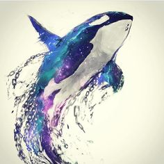 Diamond Painting Orca Water Color Kit - Diamond Painting Orca Water Color Kit Offered by Bonanza Marketplace. Orca Art, Orca Tattoo, Whale Tattoos, Tattoo Animal, Art Aquarelle, Watercolor Paintings, Watercolor Whale, Watercolors, Animal Illustrations