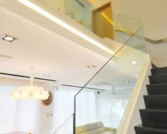 Glass stairs Staircase Architecture, Staircases, Glass Stairs, Track Lighting, Ceiling Lights, Home Decor, Decoration Home, Stairs, Room Decor