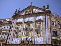 The tiled facade of Igreja de Santo António dos Congregados in Porto, Portugal