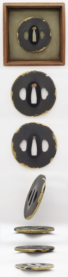 Fine, near flawless Edo Period tsuba  with gold dragon around the rim. A recent addition to the collection of James Morel