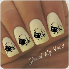 Pug Nail Decals 40 Decals by DecalMyNails on Etsy, $4.25