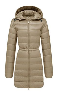 New Trending Outerwear: Wantdo Womens Hooded Packable Ultra Light Weight Down Coat, Khaki, Medium. Wantdo Women's Hooded Packable Ultra Light Weight Down Coat, Khaki, Medium   Special Offer: $42.97      400 Reviews This warm jacket is padded with an innovative material that's as warm as down and super light. It features a compact silhouette for a feminine look, and it's...