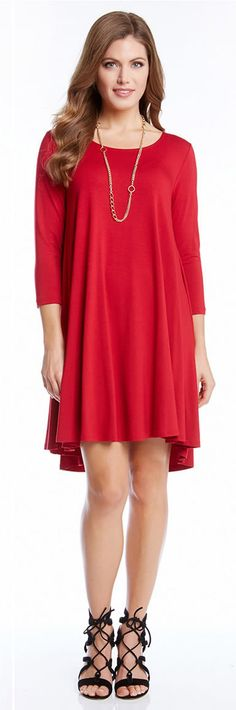 Love this dress! Super chic and flattering on any figure: this red Maggie Trapeze Dress is crafted from comfortable jersey in a swingy silhouette that falls into a hi-lo hem.