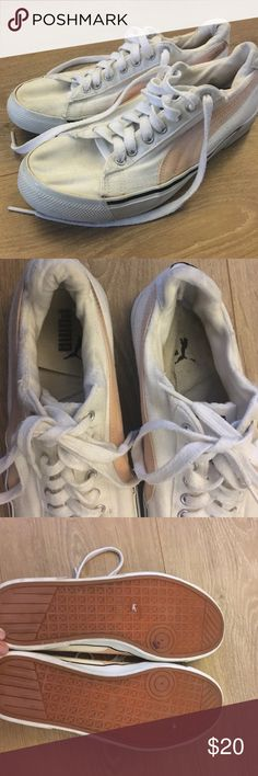 Casual, rare style puma sneakers! White and blush pink Puma sneakers. Left shoe lining came off in wash, can be glued down or replaced with a gel style lining. Some obvious signs of wear but nothing too major besides like discoloration shown in picture. Says size 7&1/2 but fits an 8 comfortably. Puma Shoes Athletic Shoes