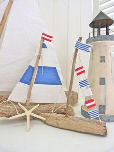 DIY decoration ideas for nautical interior design - summer atmosphere - miniature sailboat driftwood idea design summer deco house - Nautical Interior, Nautical Home, Nautical Craft, Coastal Interior, Nautical Party, Vintage Nautical, Driftwood Projects, Driftwood Art, Diy Projects