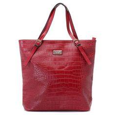 Michael Kors Gia Large Slouchy Tote Red Crocodile-embossed Leather