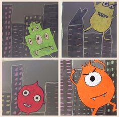 Monster in de stad! Gebouwen tekenen met potlood op grijs karton/dik papier. Vervolgens met zwarte (verdunde!) ecoline de gebouwen inkleuren. Monster op apart wit karton laten tekenen, inkleuren met wasco. Gebouwen voorzien van ramen, dmv krijtjes. Uiteindelijk monster opplakken. Gemaakt door groep 6