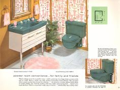 The Evolution of Colored Bathroom Fixtures - Old House Restoration, Products & Decorating Colored Toilets, Mid Century Bathroom, 1950s Bathroom, Retro Bathrooms, House Journal, Modern Master Bathroom, Master Bedroom, Relaxation Room, Bathroom Pictures