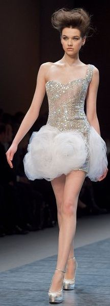 Is it just me or does it seem like she is wearing a cloud? www.fashion2dream.com Georges Chakra ~ Fashion shows fashion weeks