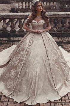 Gorgeous Arabic Champagne Ball Gown Wedding Dresses 2019 : Gorgeous Arabic Champagne Ball Gown Wedding Dresses 2019 Elegant Off Shoulders Lace Appliques Backless Bridal Gowns Dubai Robe de marriage Ballroom Wedding Dresses, Luxury Wedding Dress, Princess Wedding Dresses, Long Wedding Dresses, Wedding Gowns, Princess Bridal, Bride Dresses, Backless Wedding, Tulle Wedding