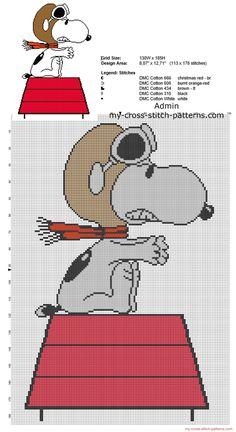 Snoopy Peanuts aviador patron punto de cruz mantas bebe