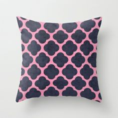 pink and navy clover Throw Pillow by Her Art - $20.00