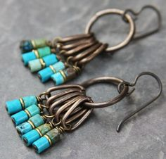 Heishi Turquoise Fringe Earrings by RELM Originals on Etsy.  interesting way to use little tube or heishi beads