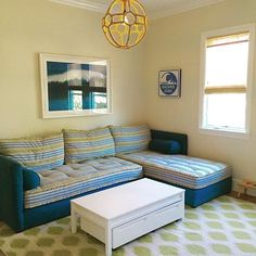 This is one of my favorite sectionals! It's actually 2 twin beds put together...the perfect sectional for a playroom! #marinestreetprojecr!