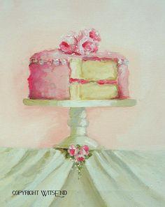 Rose Cake painting original ooak dessert food art by 4WitsEnd