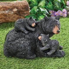 Mama Black Bear and Baby Cubs Garden Sculpture | Collections Etc. Panda Tree, Baby Cubs, Bear Decor, Woodland Decor, Collections Etc, Black Bear, Garden Sculpture, Animals, Painting