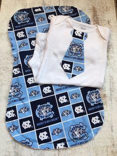North Carolina Baby Bodysuit and Burp Cloth Set - UNC Shirt and Burp Cloth - North Carlina Burp Rag - University of North Carolina Baby Gift by BrikayDesigns on Etsy