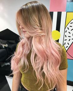 long bronde to pastel pink ombre hair