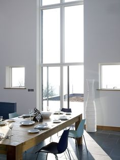 Ultra slim aluminium-clad timber system from WWA member, Velfac Timber Windows, Wooden Windows, Windows And Doors, Contemporary Windows, Window Frames, Dining Table, Slim, Modern, Furniture