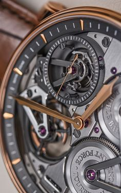 Baselworld 2015: Closeup Of The Arnold & Son Constant Force Tourbillon's Constant Force And Tourbillon Mechanisms - follow all our intense coverage of the world's biggest watch show with #BaselworldABTW on your favorite social media channels, and keep up with our articles and photography of the latest and hottest watches for this year (this Pin) - and see what we've written about other beautiful Arnold & Son creations here: http://www.ablogtowatch.com/watch-brands/arnold-son/