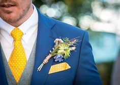 Polka Dot Tie Pocket Square Buttonhole Groom Homespun Relaxed Happy Yellow Navy Blue Farm Wedding http://www.deliamcdonaghphotography.co.uk/