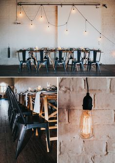 Modern industrial wedding reception styling with draped Edison bulbs and blue Tolix chairs Industrial Wedding Inspiration, Industrial Wedding Decor, Modern Industrial, Wedding Trends, Wedding Styles, Wedding Ideas, Wedding Pictures, Wedding Chairs, Wedding Reception